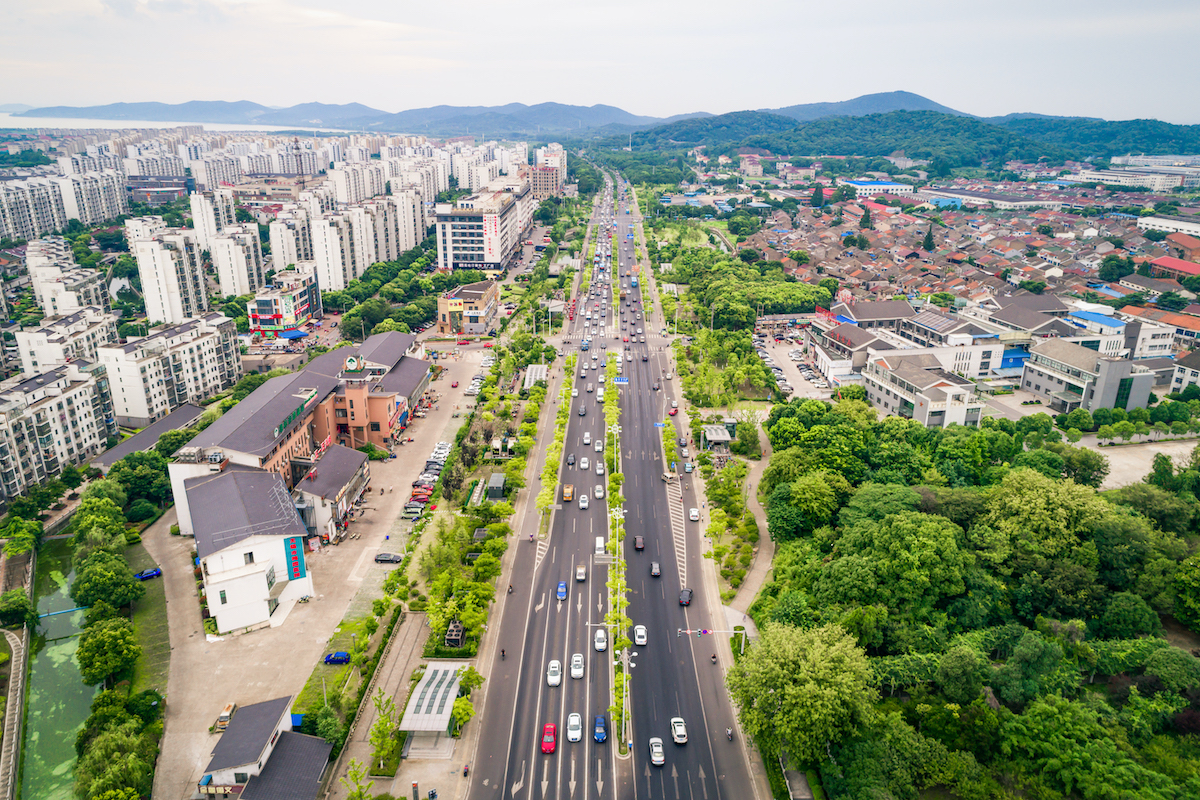 drone view of the roads of a city